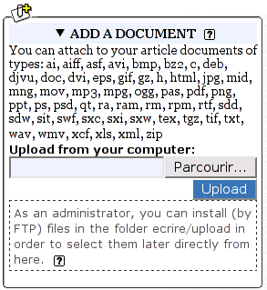 The panel for adding a document